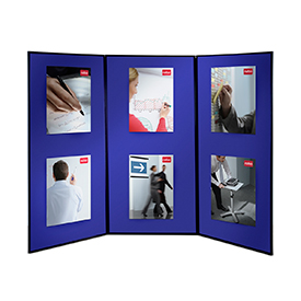 Nobo 1901710 Showboard Extra 3 Panel Blue Grey 2700 x 1800mm