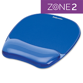 Fellowes 91141 Crystal Gel Mousepad Wrist Support Blue