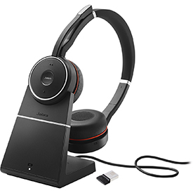 Jabra Evolve 75 Bluetooth wireless Stereo headset with Stand