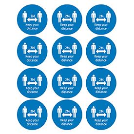 Avery Round 2m Keep your Distance Self-Adhesive Pre-Printed Badges