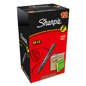 Sharpie S0192584 M15 Permanent Marker Bullet Tip Black Box of 12