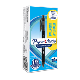 Paper Mate S0512261 Comfortmate 1mm Black Retractable Pen Pack of 12