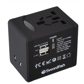 Swordfish VariPlug Dual USB Universal Travel Adapter Black